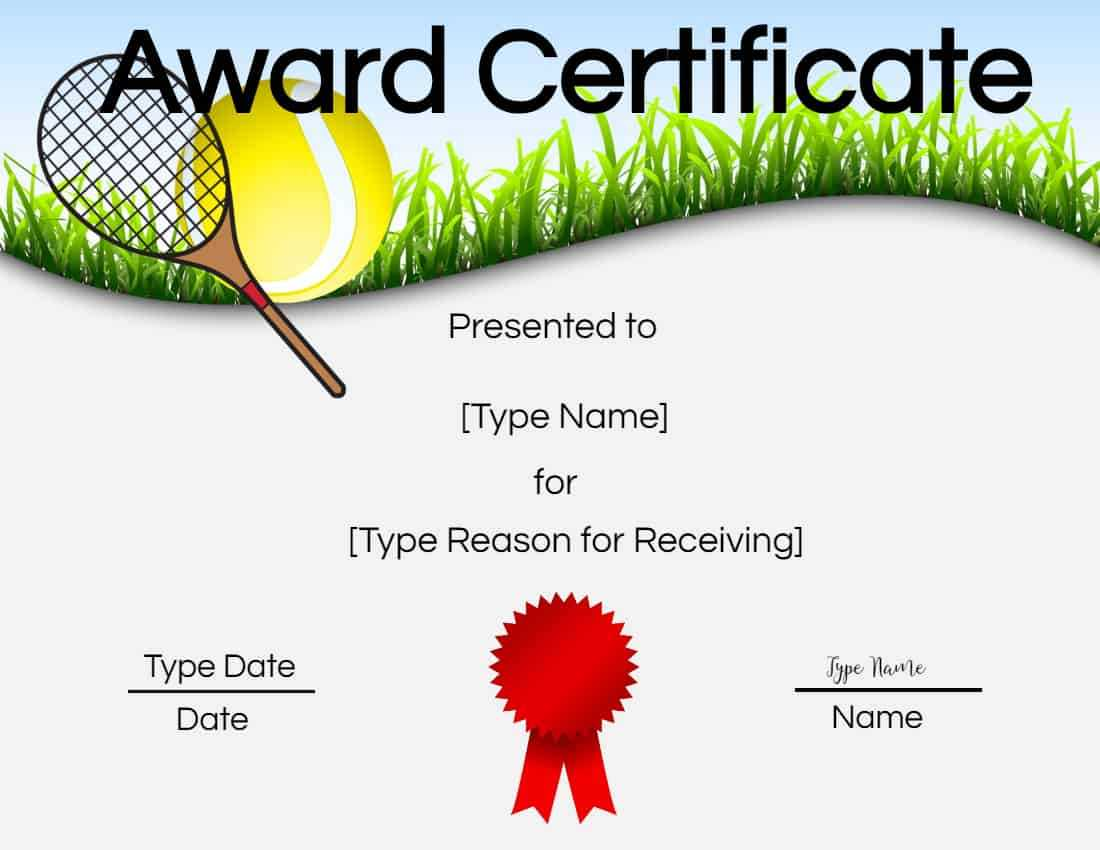 Free Tennis Certificates | Edit Online And Print At Home In Tennis Certificate Template Free