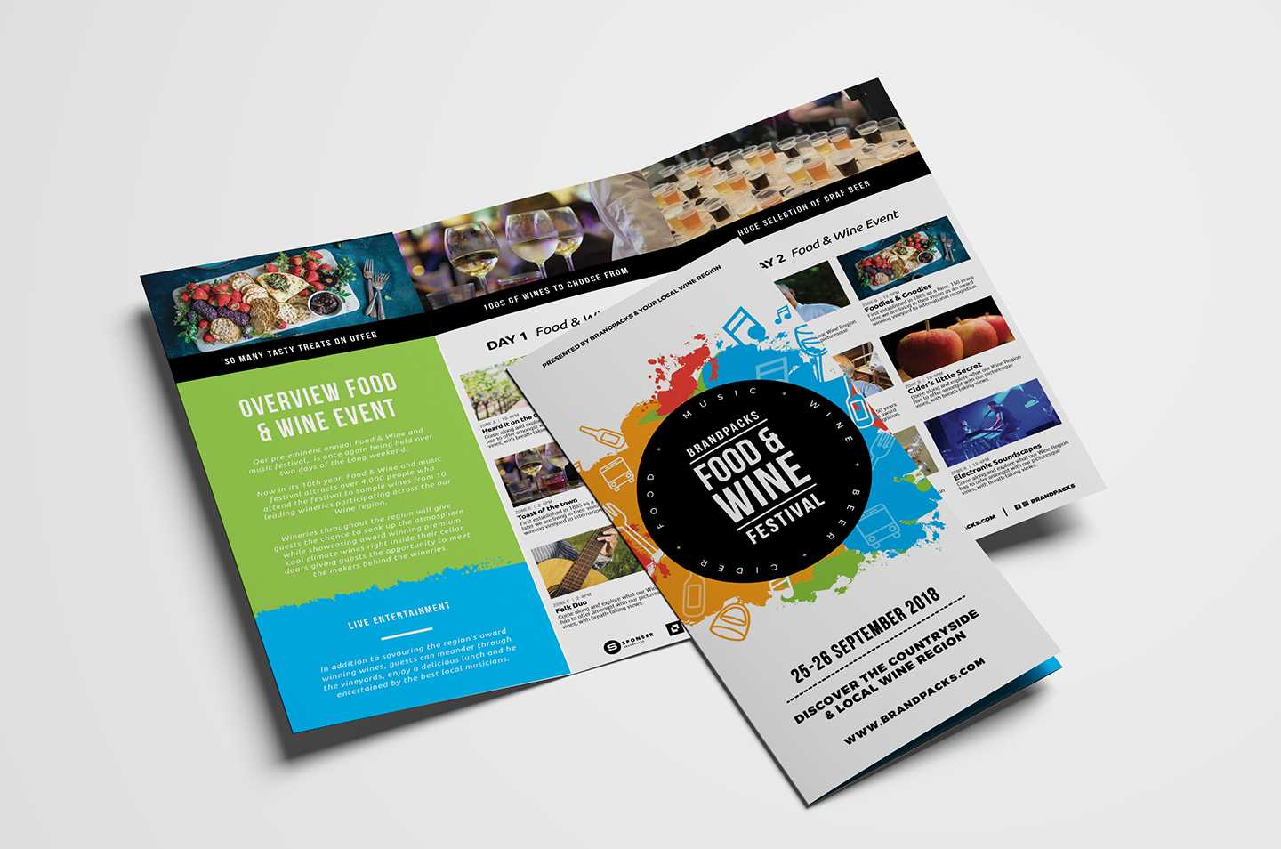 Free Tri Fold Brochure Template For Events & Festivals - Psd Within 2 Fold Brochure Template Free