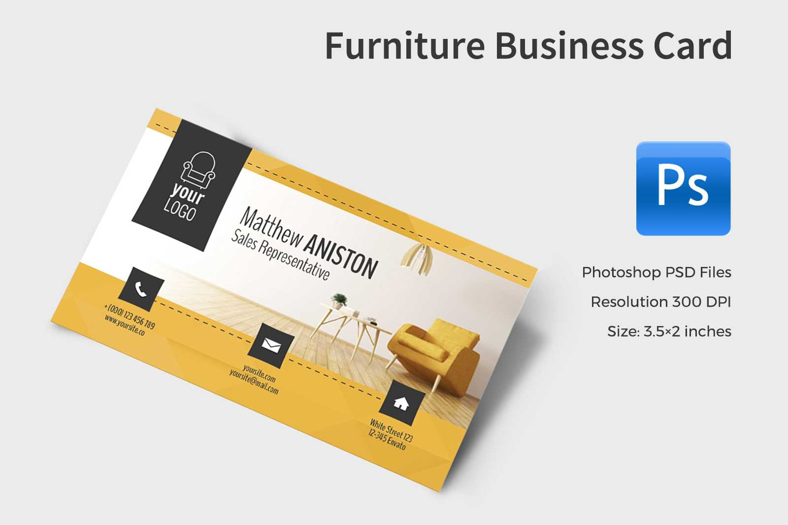 Furniture Business Card In Business Card Templates On Pertaining To Business Card Template Size Photoshop
