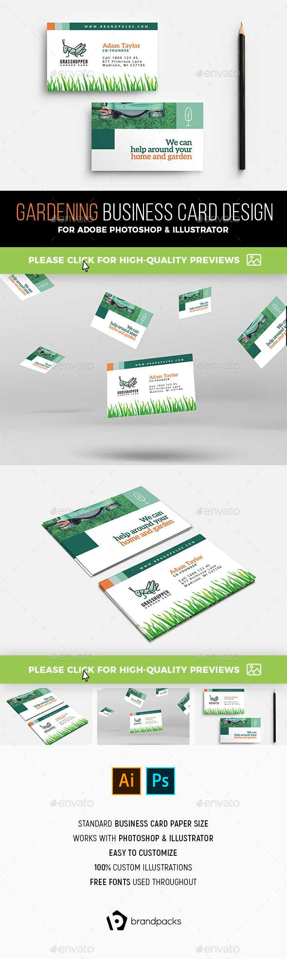 Gardening Business Card Templates & Designs From Graphicriver Within Gardening Business Cards Templates
