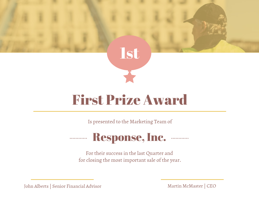 Gold First Prize Award Certificate Template Intended For First Place Award Certificate Template