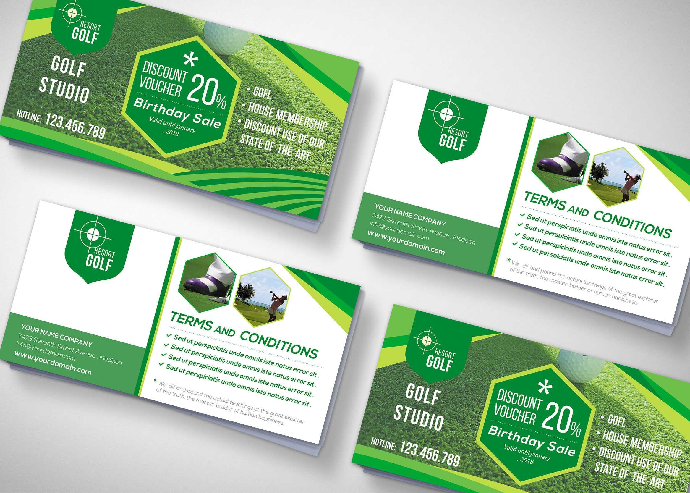 Golf Tournament Gift Voucher Design Template - 99Effects Regarding Golf Gift Certificate Template
