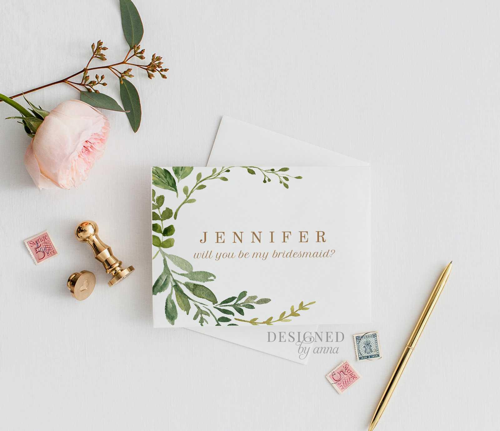 Greenery Bridesmaid Card Printable Will You Be My Bridesmaid Design  Watercolor Botanical Bridesmaid Proposal Editable Template [Id:1602994] Pertaining To Will You Be My Bridesmaid Card Template