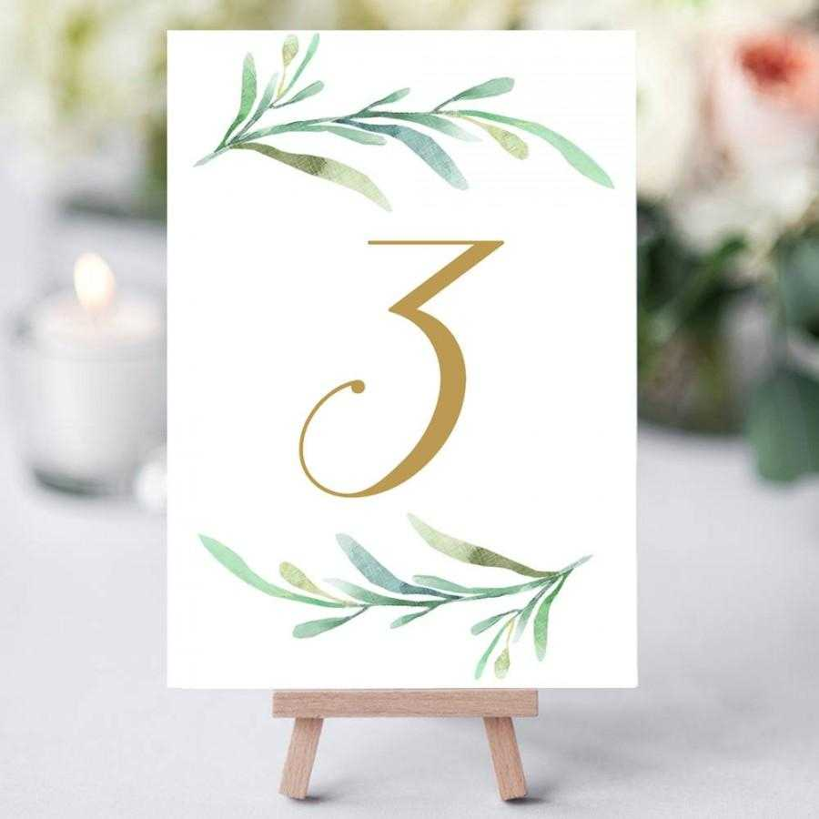 Greenery Wedding Table Numbers Template, Printable Reception Intended For Table Number Cards Template