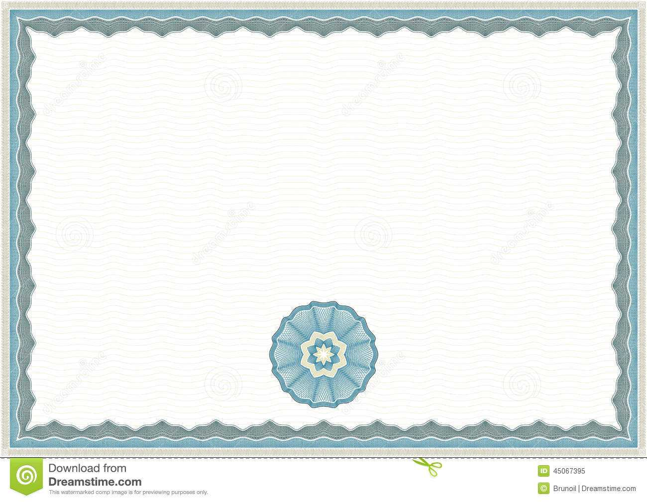 Guilloche Certificate Template Stock Vector – Illustration Within Corporate Bond Certificate Template