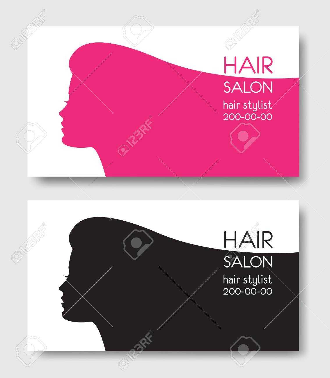 Hair Salon Business Card Templates With Beautiful Woman Face Sil Within Hair Salon Business Card Template