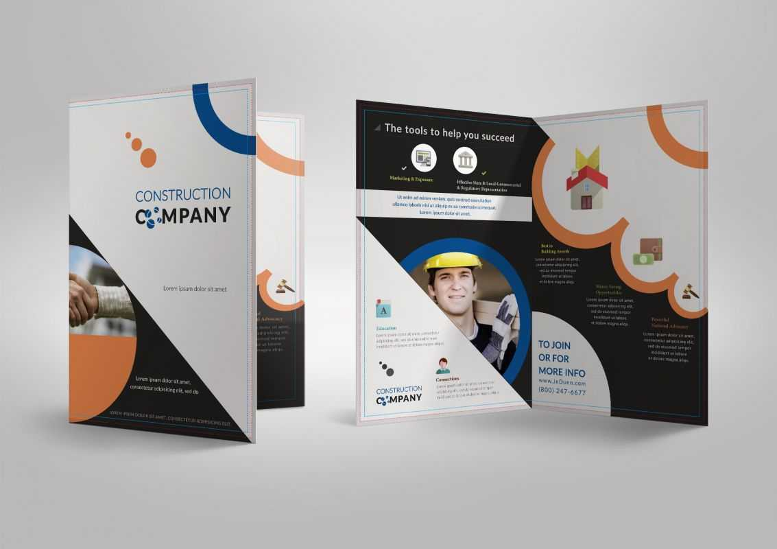 Half Fold Brochure Template For Construction Company With Regard To Half Page Brochure Template