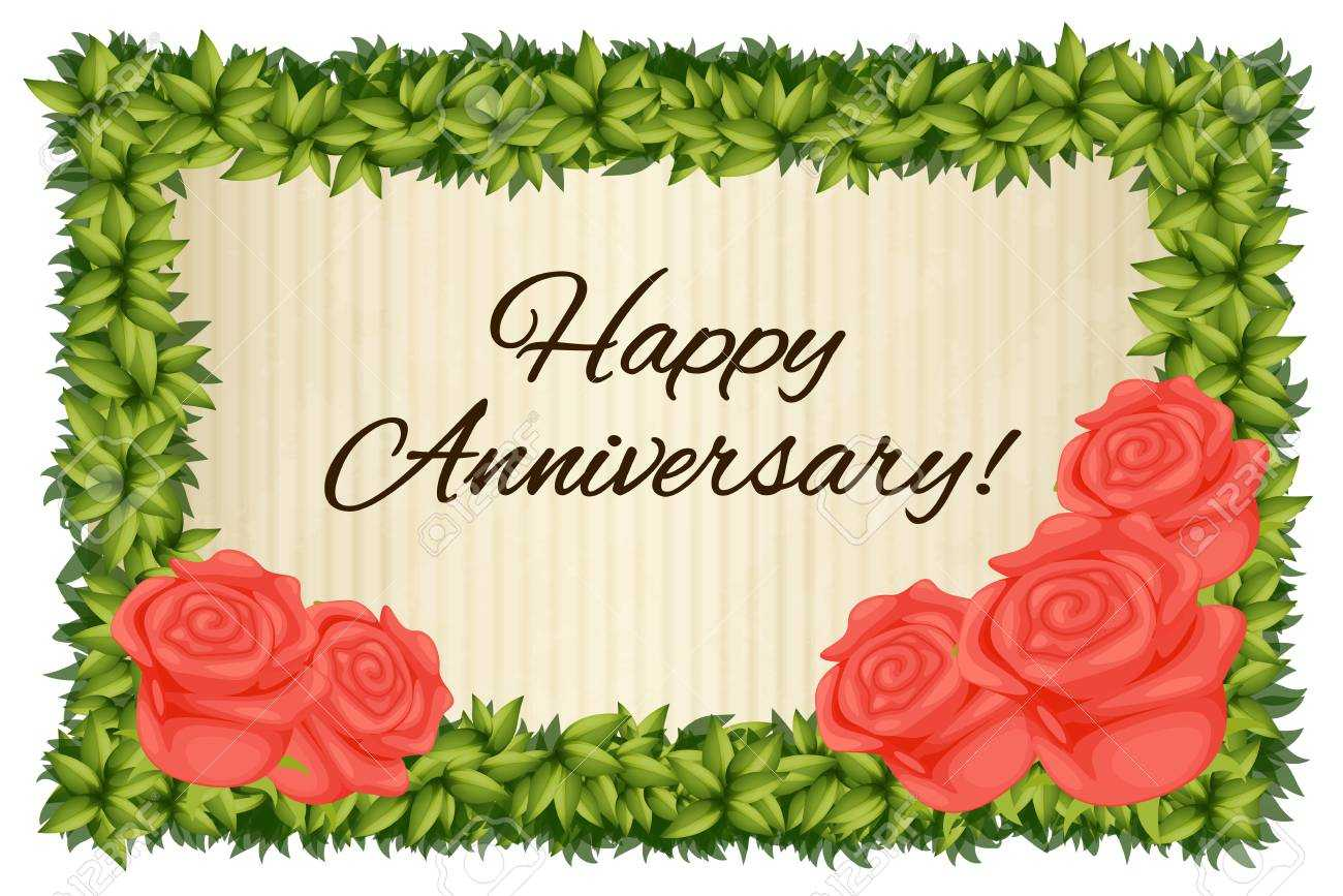 Happy Anniversary Card Template With Red Roses Illustration For Word Anniversary Card Template