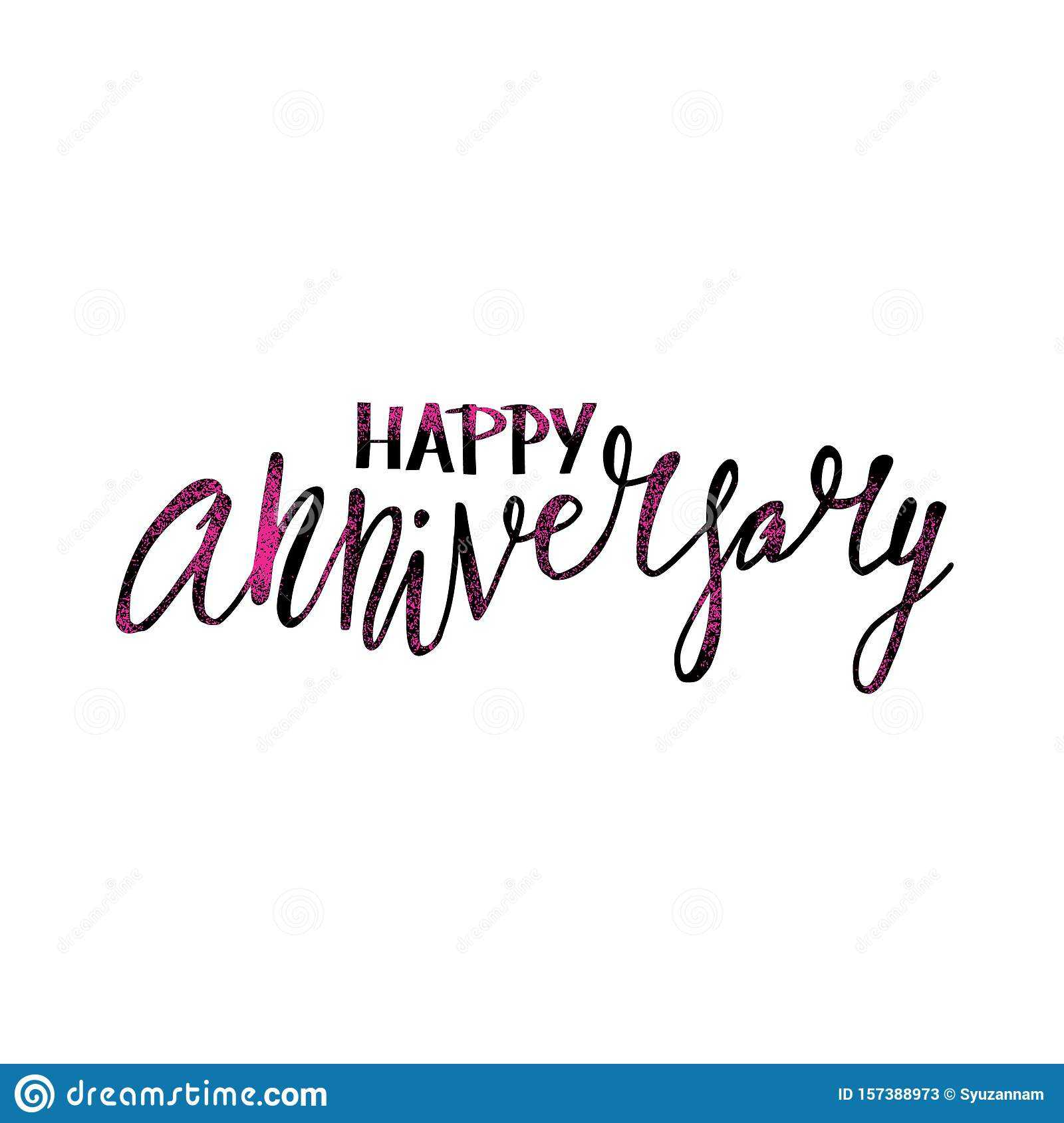 Happy Anniversary Text. Vector Word With Decor Stock Vector Inside Word Anniversary Card Template
