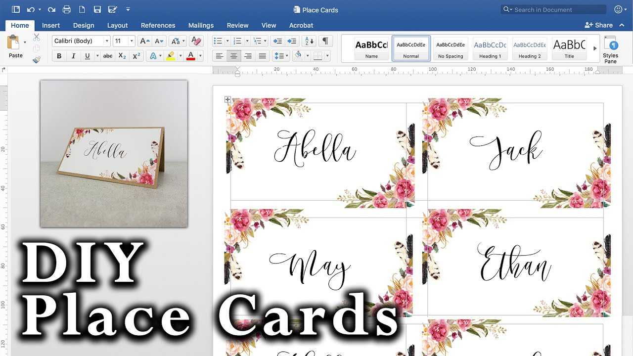 How To Make Diy Place Cards With Mail Merge In Ms Word And Adobe Illustrator Throughout Microsoft Word Place Card Template