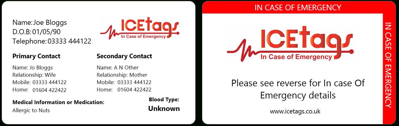 Ice Wallet Card | Full Size Icetags | Free Uk Delivery With Regard To Medical Alert Wallet Card Template