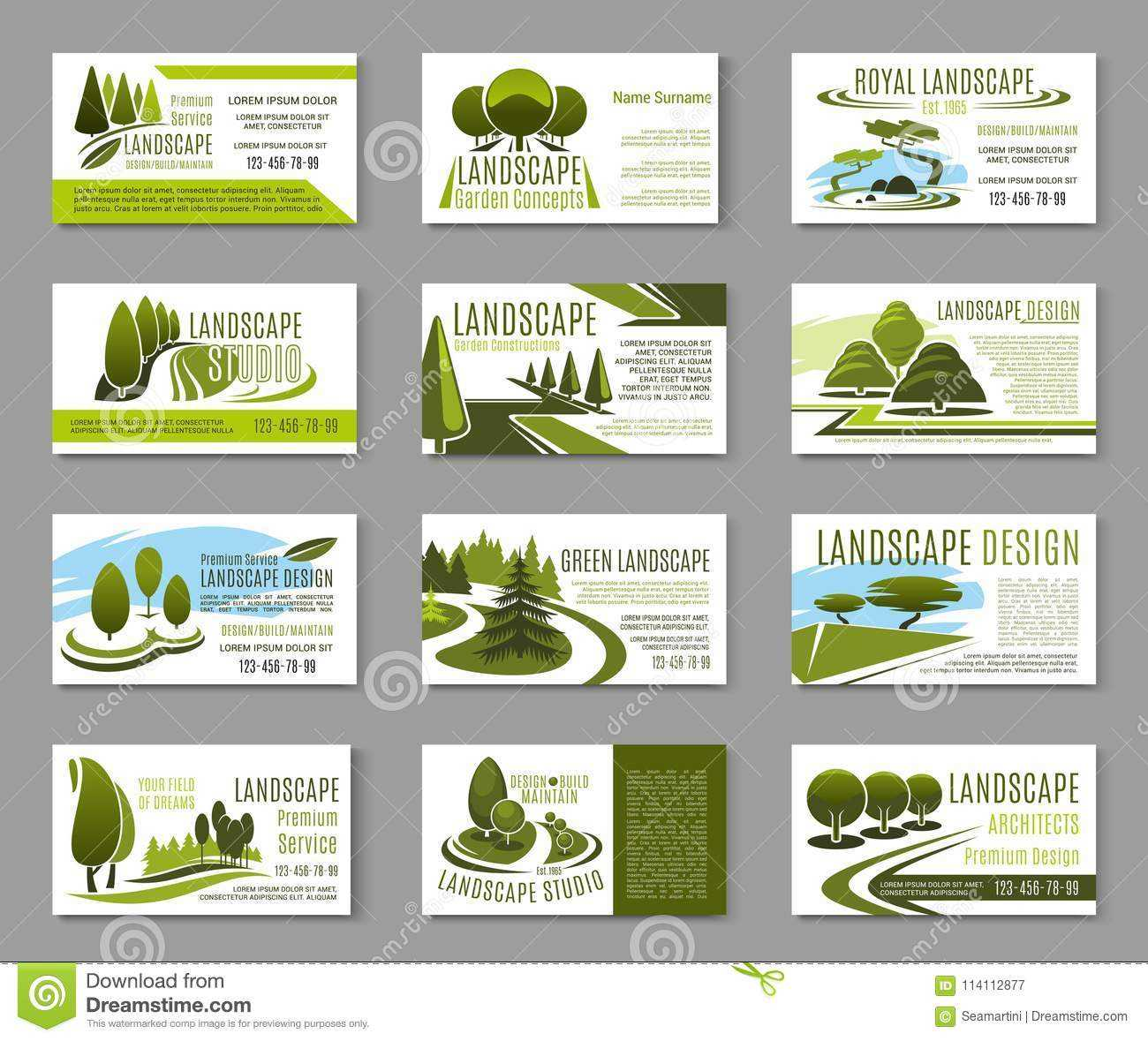 Landscape Design Studio Business Card Template Stock Vector Intended For Gardening Business Cards Templates