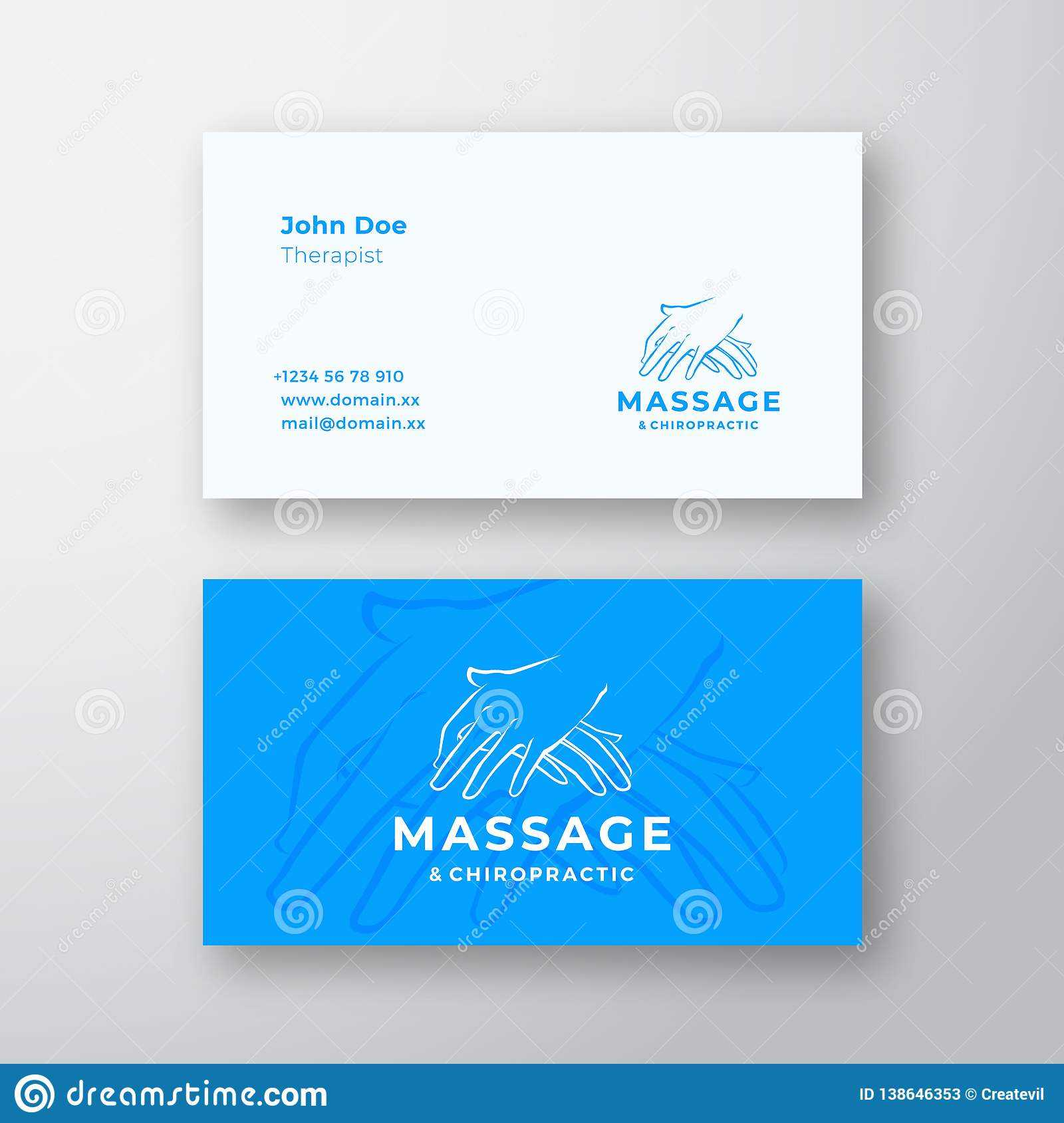 Massage And Chiropractic Abstract Vector Logo And Business For Chiropractic Travel Card Template