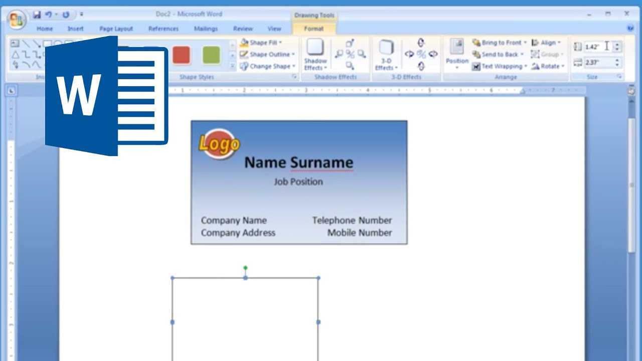 Microsoft Word – How To Make And Print Business Card 2/2 In Blank Business Card Template Microsoft Word