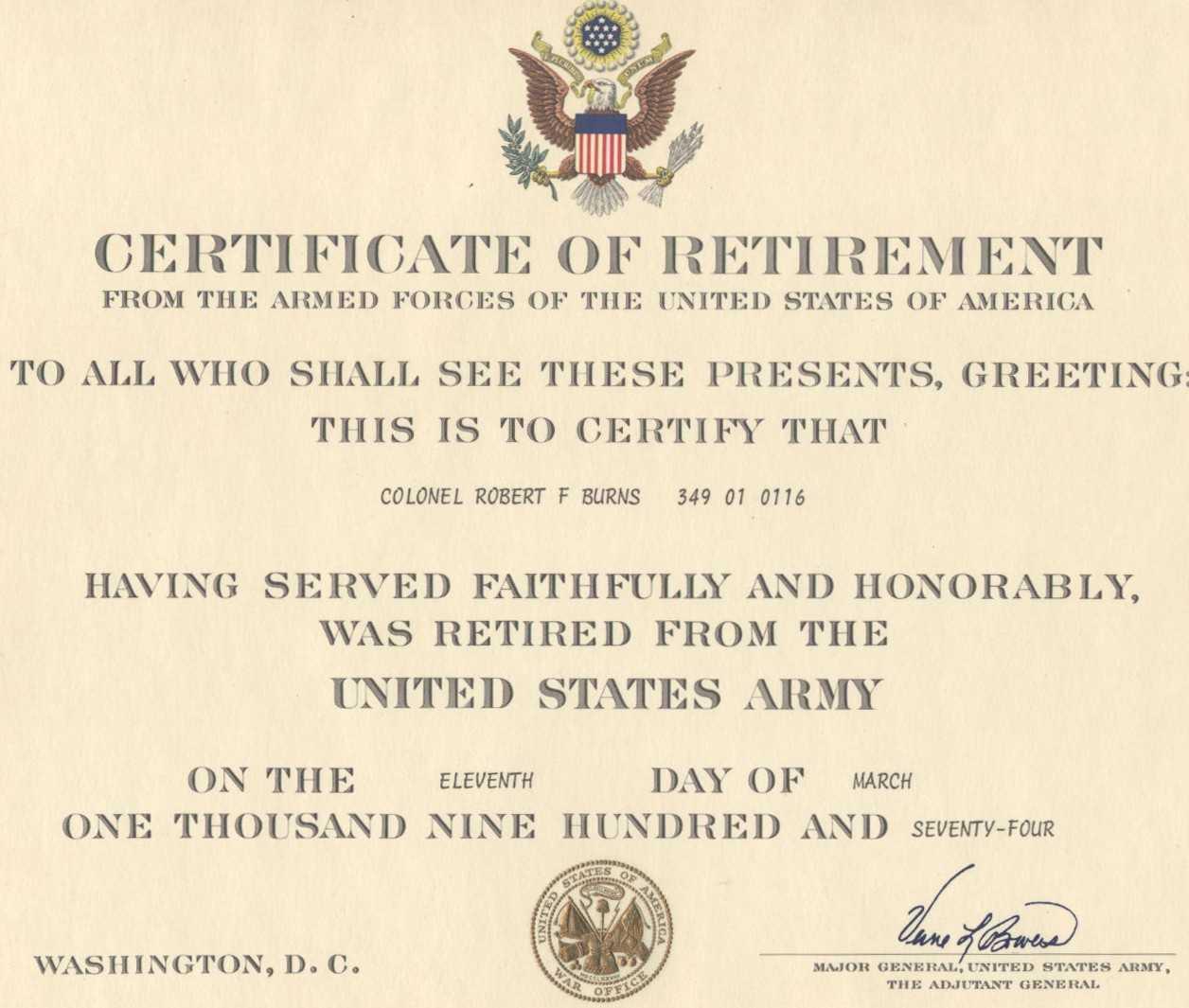 Military Retirement Certificate Template | Timesheet For Retirement Certificate Template