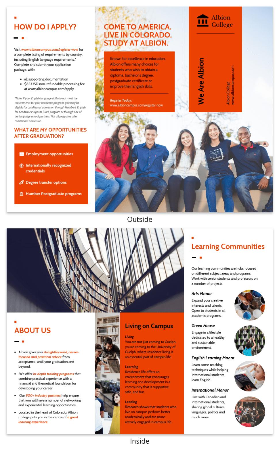 Modern Orange College Tri Fold Brochure Template Pertaining To Tri Fold School Brochure Template