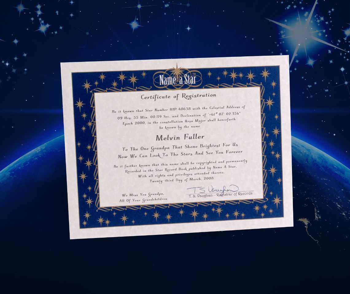 Name A Star Instant Certificate – Buy And Name A Star   Name Inside Star Naming Certificate Template