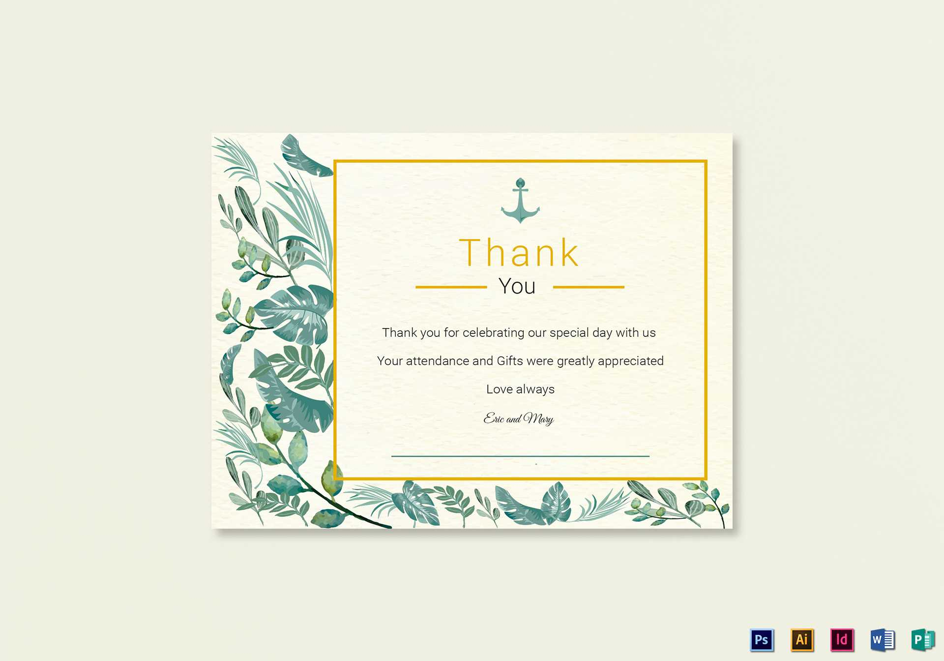 Nautical Thank You Card Template Within Thank You Card Template Word