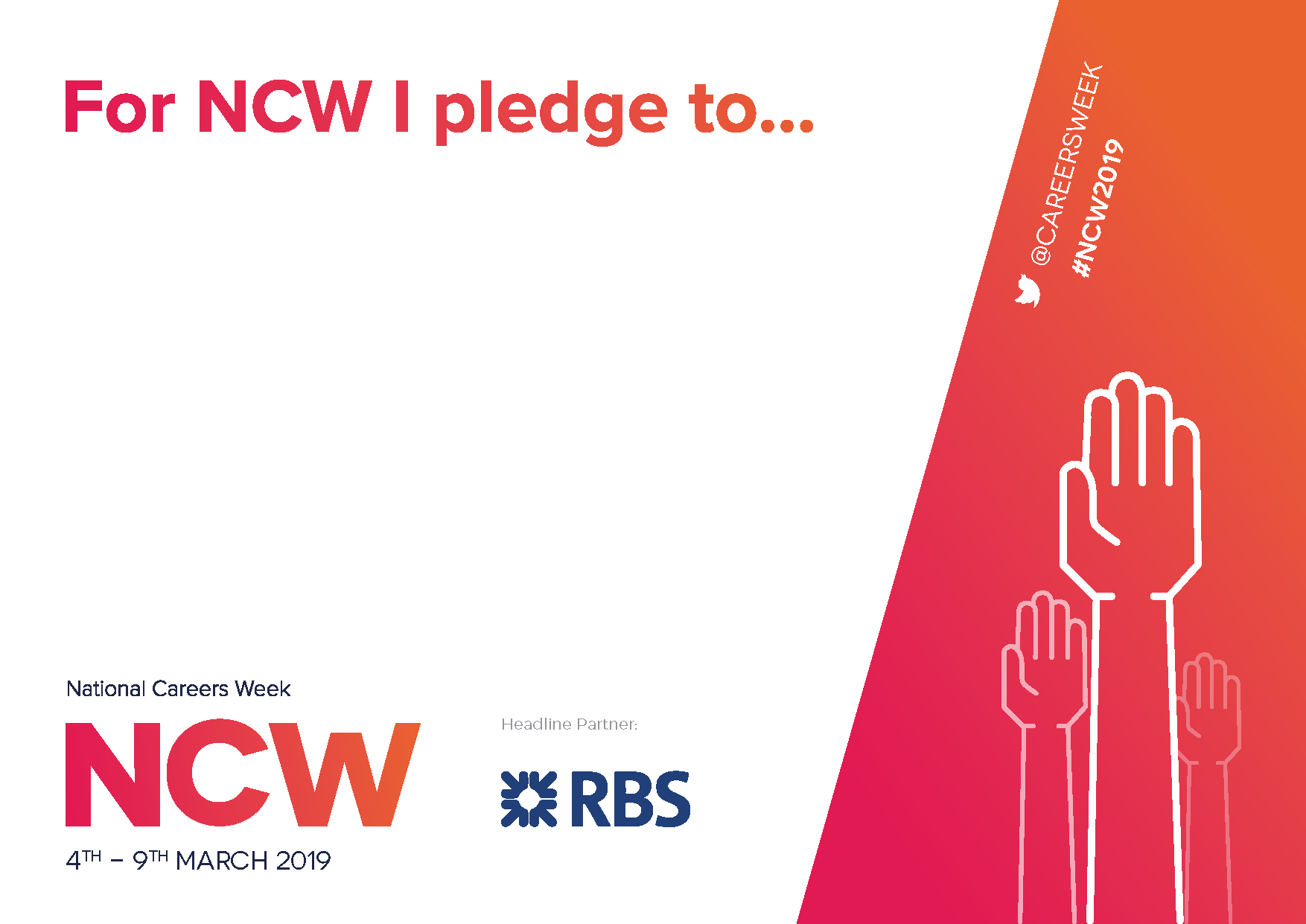 Ncw 2019 Printable Pledge Card – National Careers Week For Free Pledge Card Template