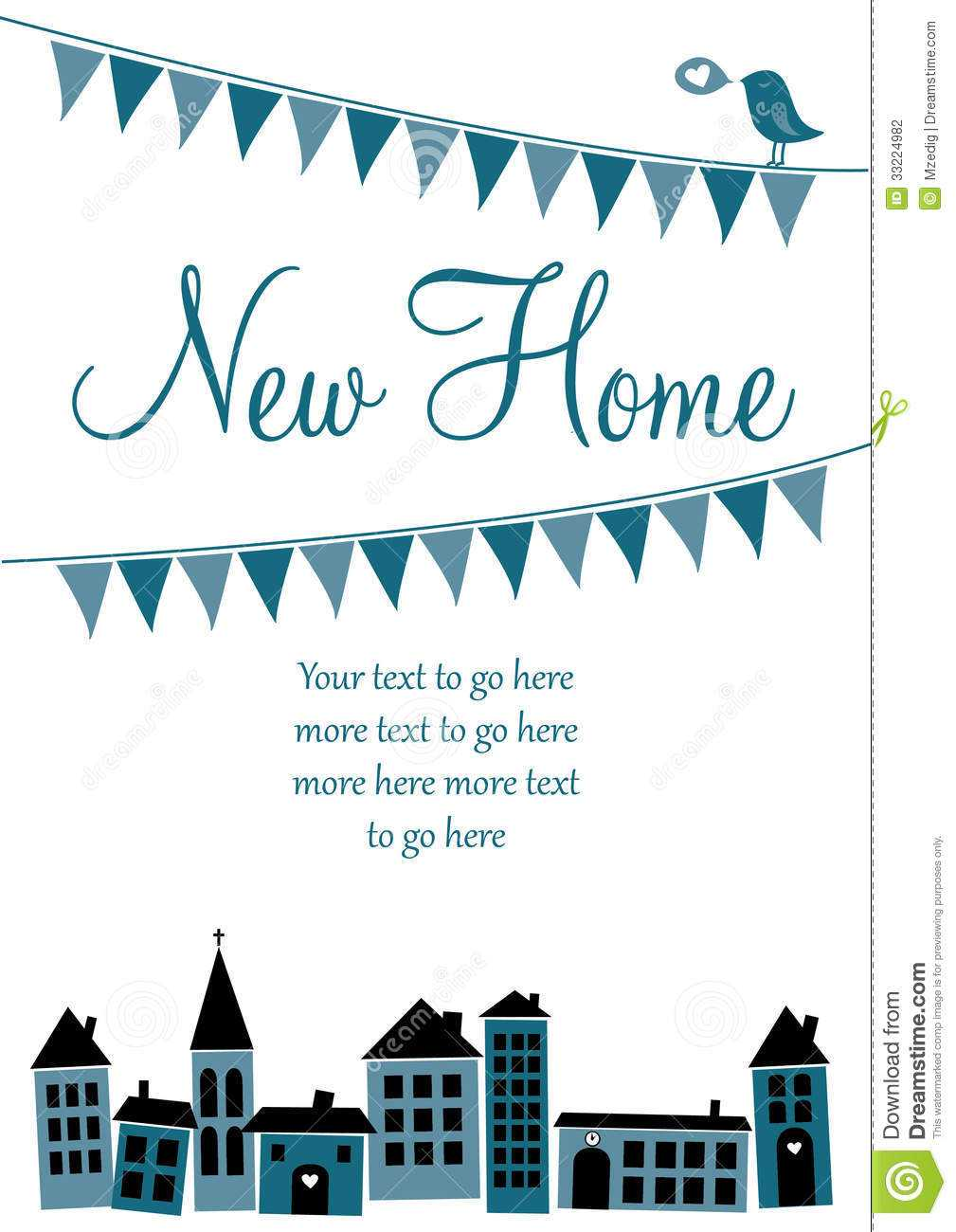 New Home Card Stock Vector. Illustration Of Moved Regarding Moving Home Cards Template