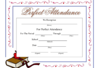 Perfect Attendance Certificate - Download A Free Template with Perfect Attendance Certificate Free Template