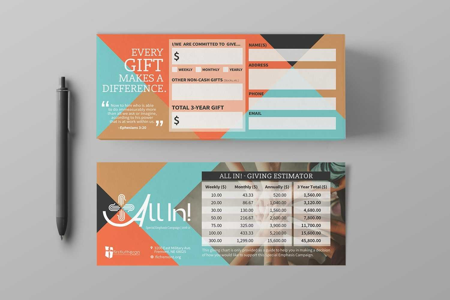 Pledge Cards & Commitment Cards | Church Campaign Design Inside Pledge Card Template For Church