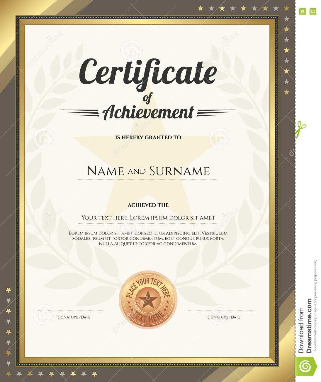 Portrait Certificate Of Achievement Template With Gold Inside Star Naming Certificate Template