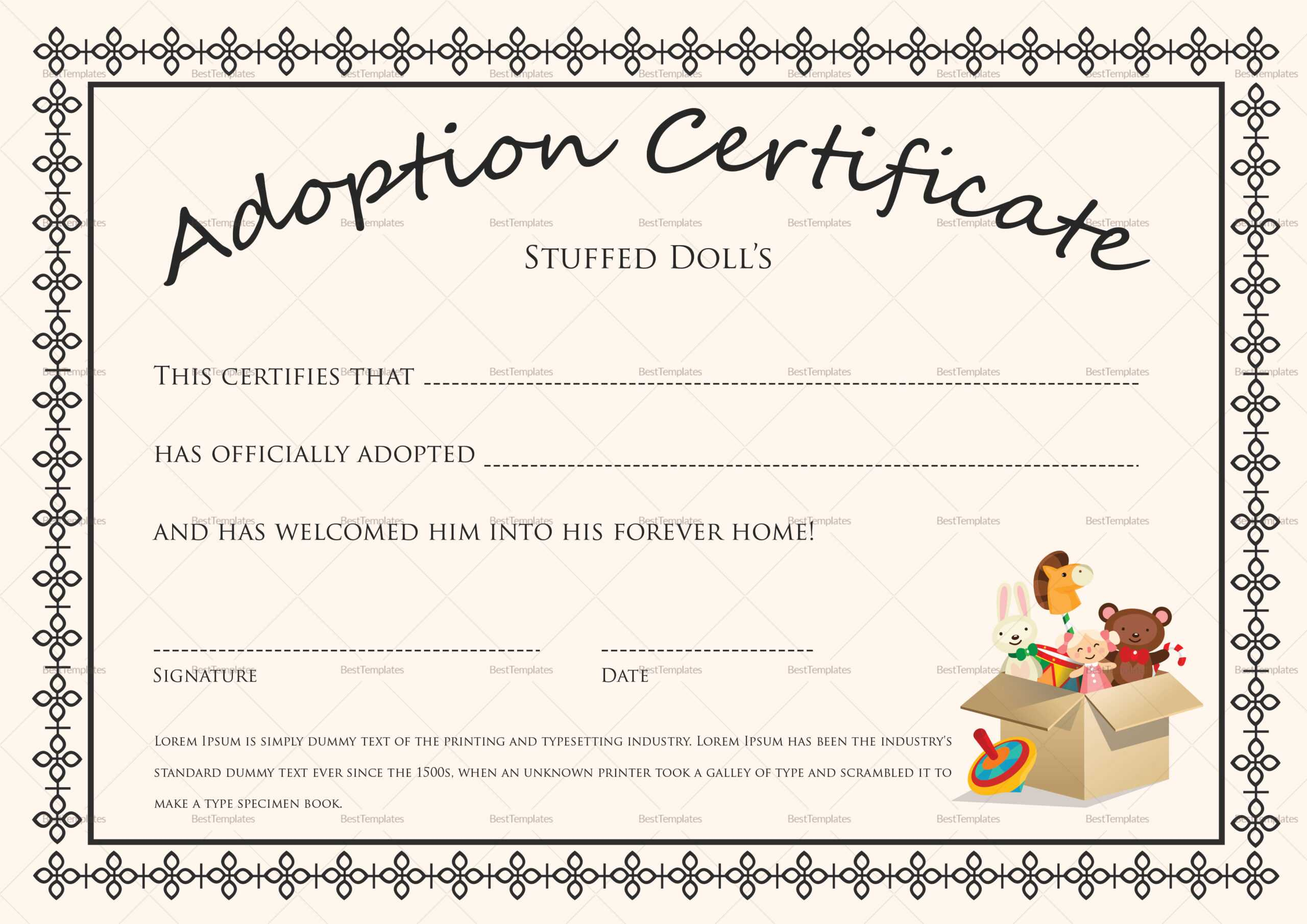 Printable Adoption Certificate That Are Satisfactory Inside Child Adoption Certificate Template