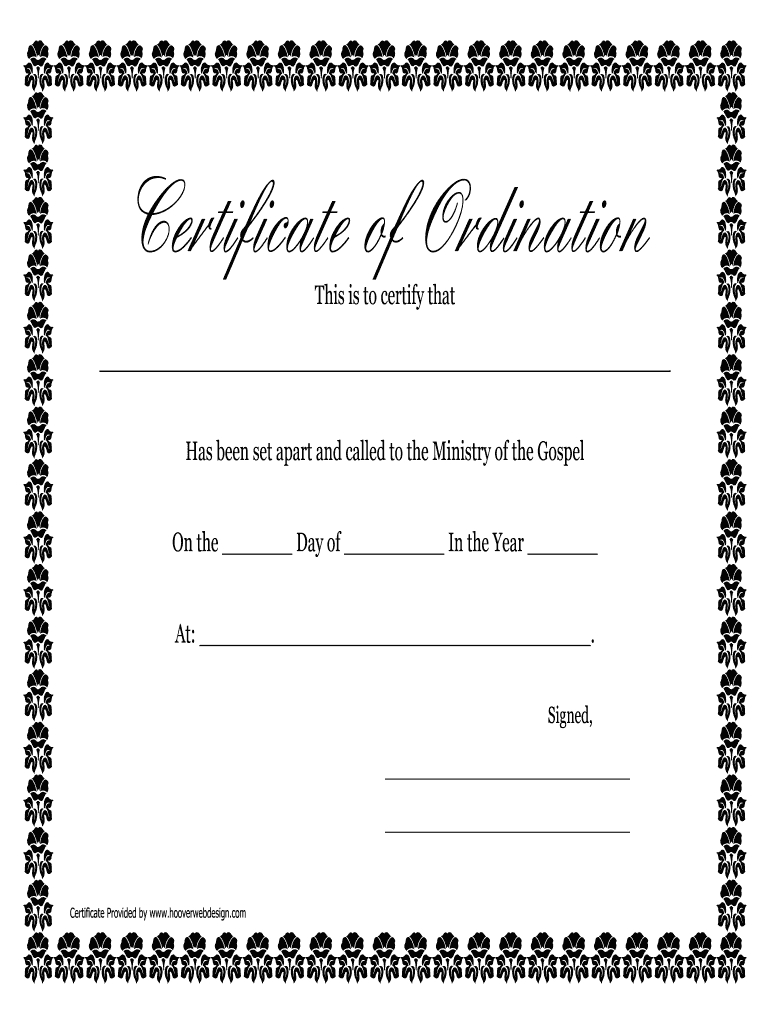 Printable Ordination Certificate - Fill Online, Printable Pertaining To Free Ordination Certificate Template