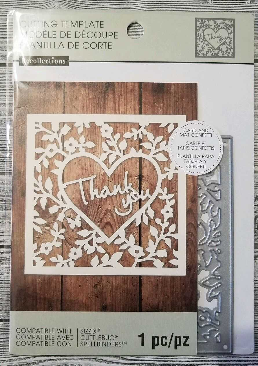 Recollections Thank You Card Confetti 1 Cutting Die Template 542692 Intended For Recollections Card Template