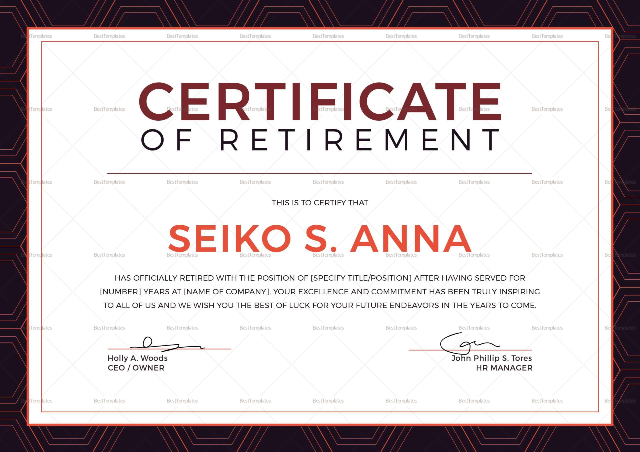 Retirement Certificate - Dalep.midnightpig.co In Retirement Certificate Template