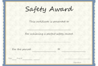 Safety Award Template - Calep.midnightpig.co throughout Safety Recognition Certificate Template