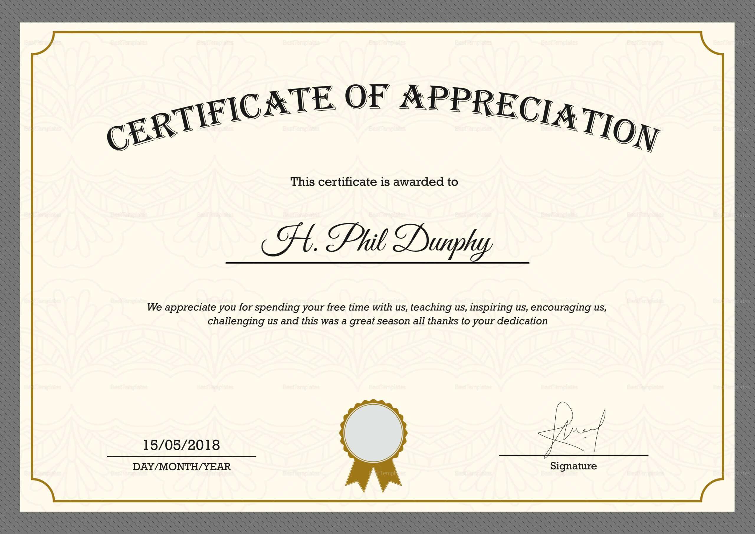 Sample Company Appreciation Certificate Template Within In Appreciation Certificate Templates