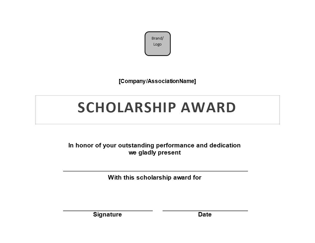 Scholarship Award Certificate | Templates At For Scholarship Certificate Template Word