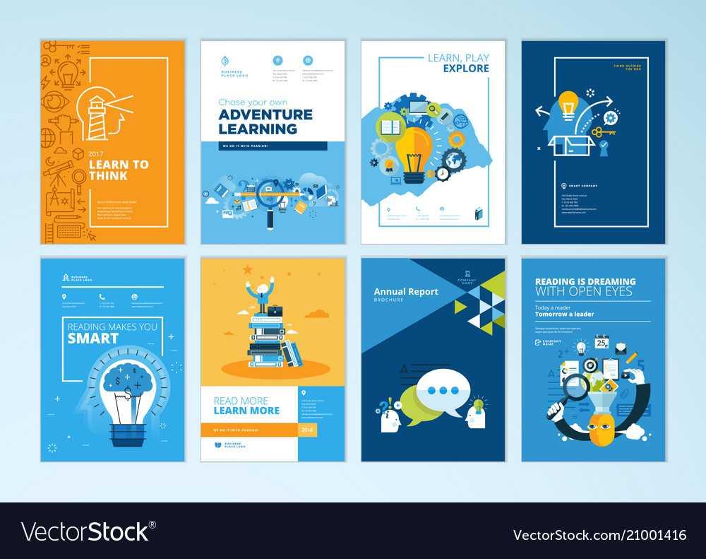 Set Of Brochure Design Templates Of Education Throughout Brochure Design Templates For Education