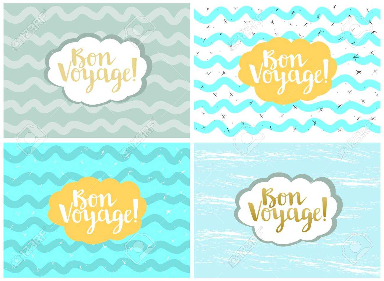 Set Of Four Cards, Vector Templates. Bon Voyage. Within Bon Voyage Card Template