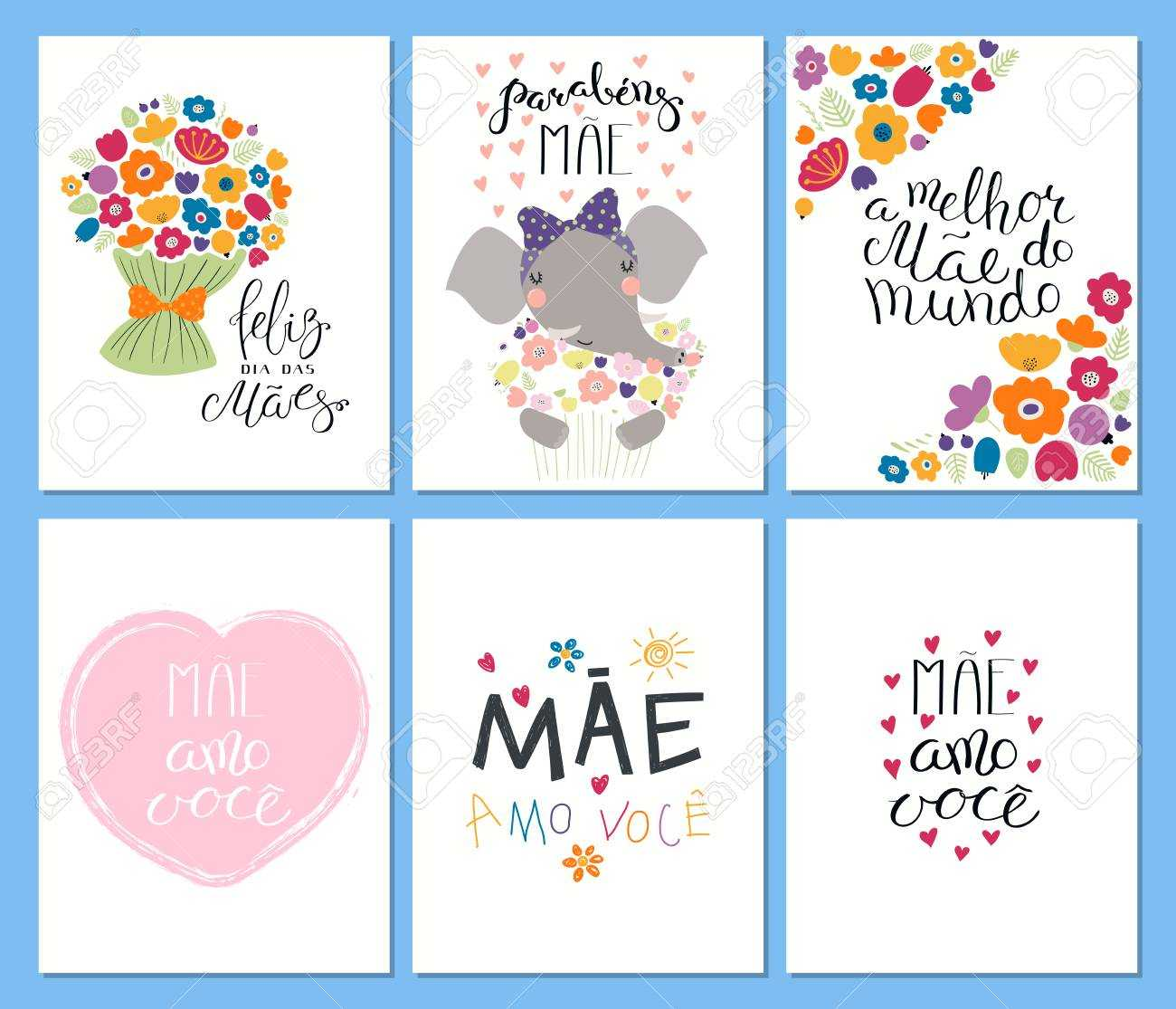 Set Of Mother's Day Cards Templates With Quotes In Portuguese With Mothers Day Card Templates