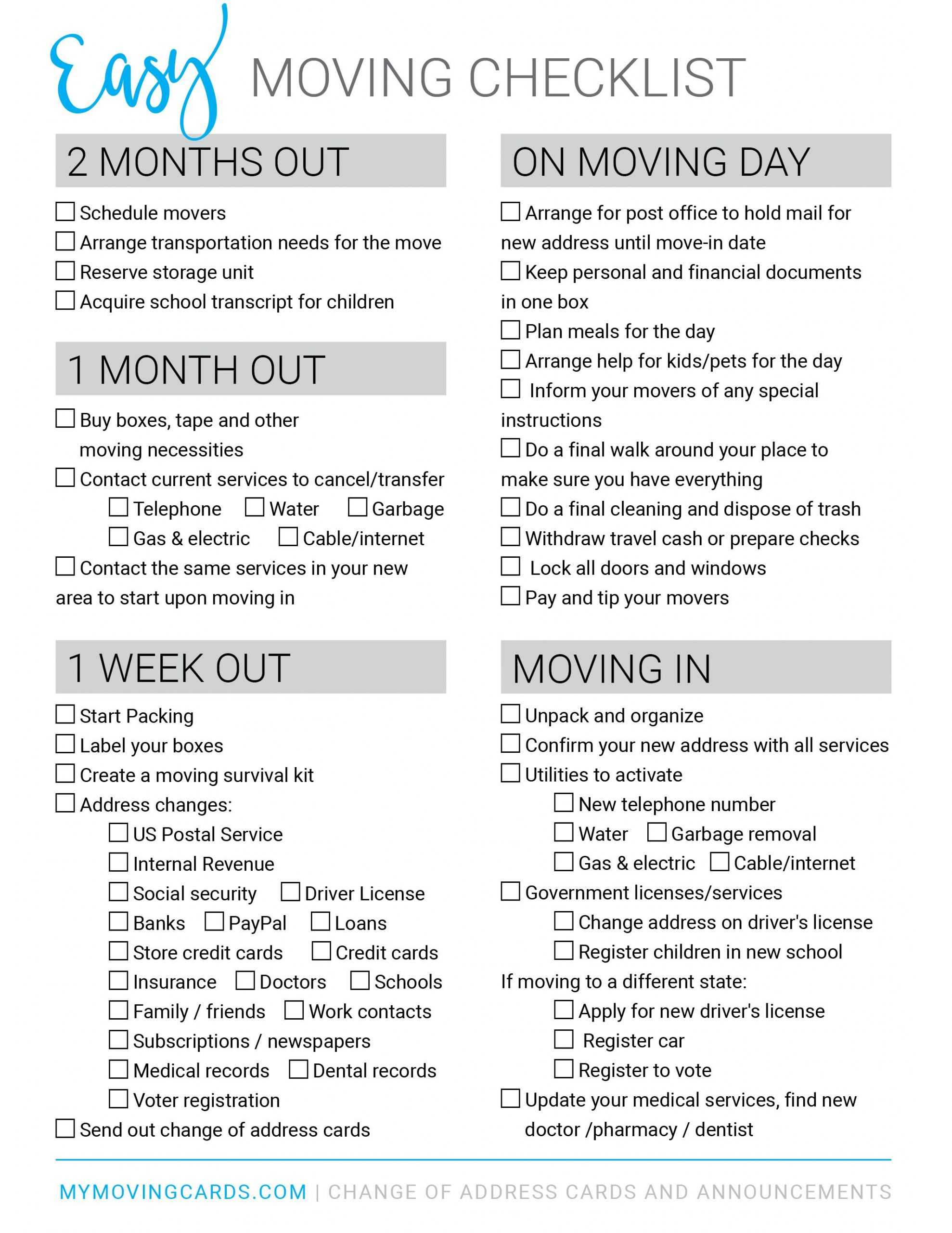 Spreadsheet Moving House Checklist Free Printable Download Throughout Moving House Cards Template Free