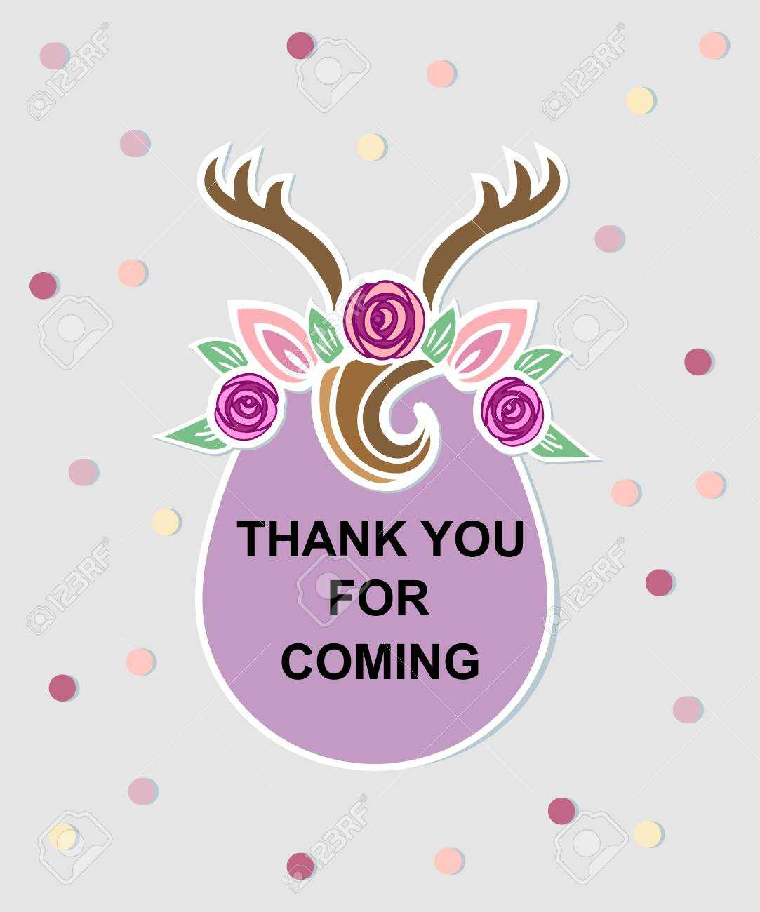 Template With Deer Headband For Party Invitation, Baby Shower,.. In Thank You Card Template For Baby Shower