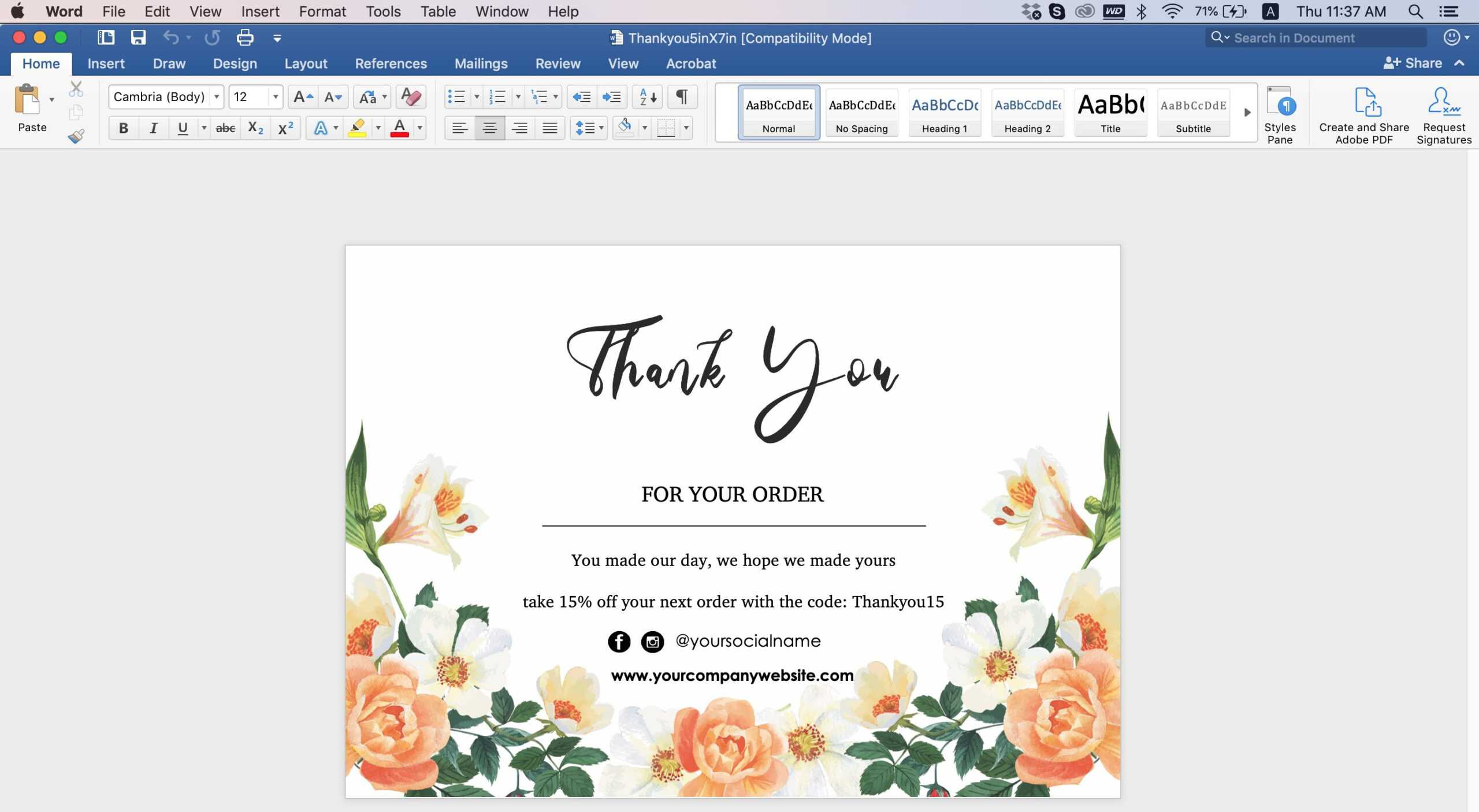 Thank You Card Id08 For Thank You Card Template Word
