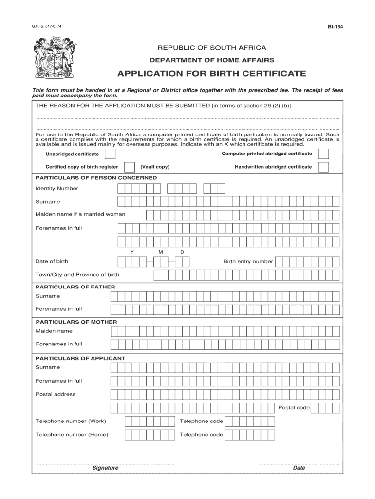 Unabridged Birth Certificate Form - Fill Online, Printable With Regard To South African Birth Certificate Template