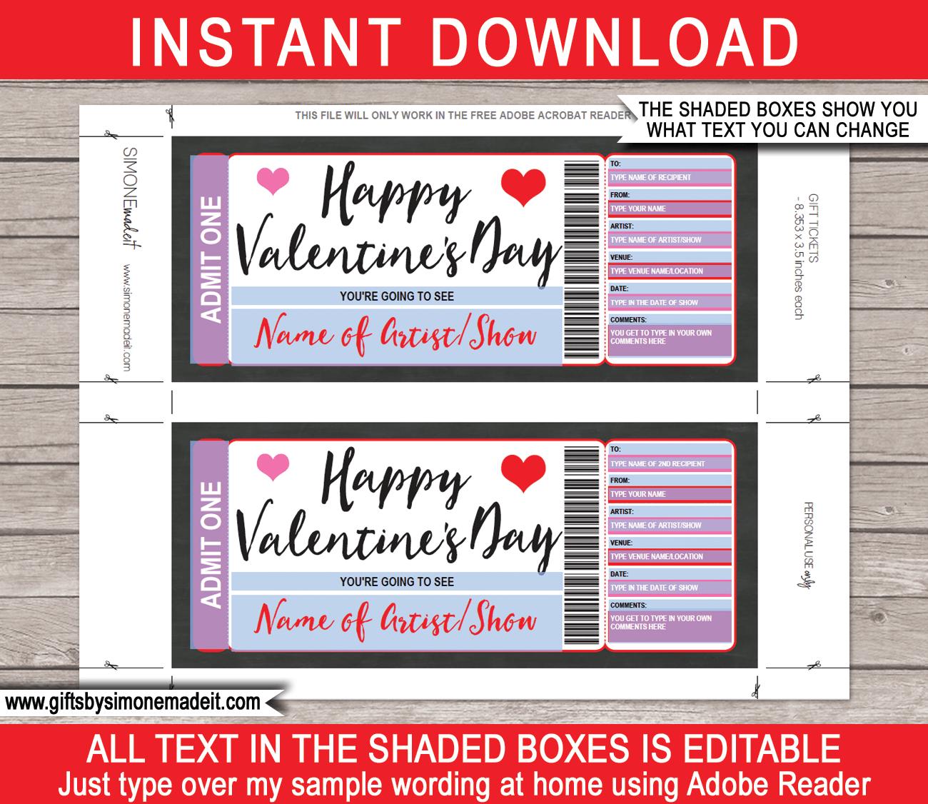 Valentine's Day Concert Ticket Gift Voucher Regarding Movie Gift Certificate Template