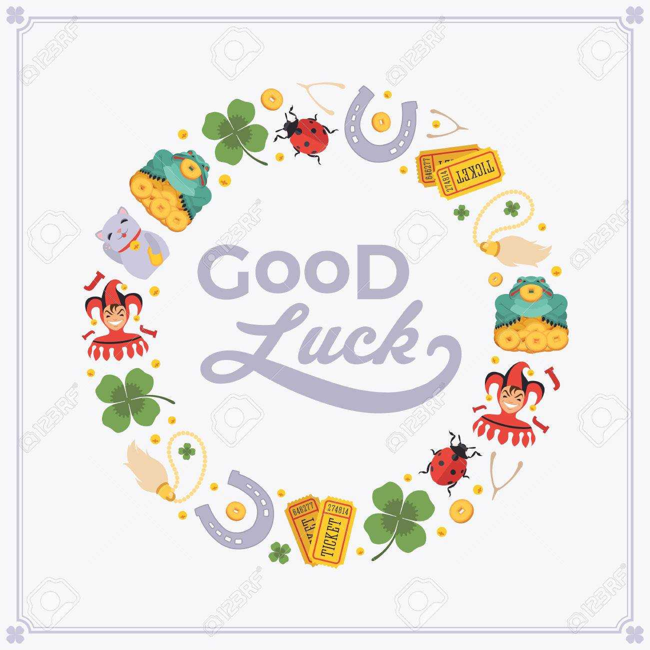 Vector Decorating Design Made Of Lucky Charms, And The Words.. Throughout Good Luck Card Templates