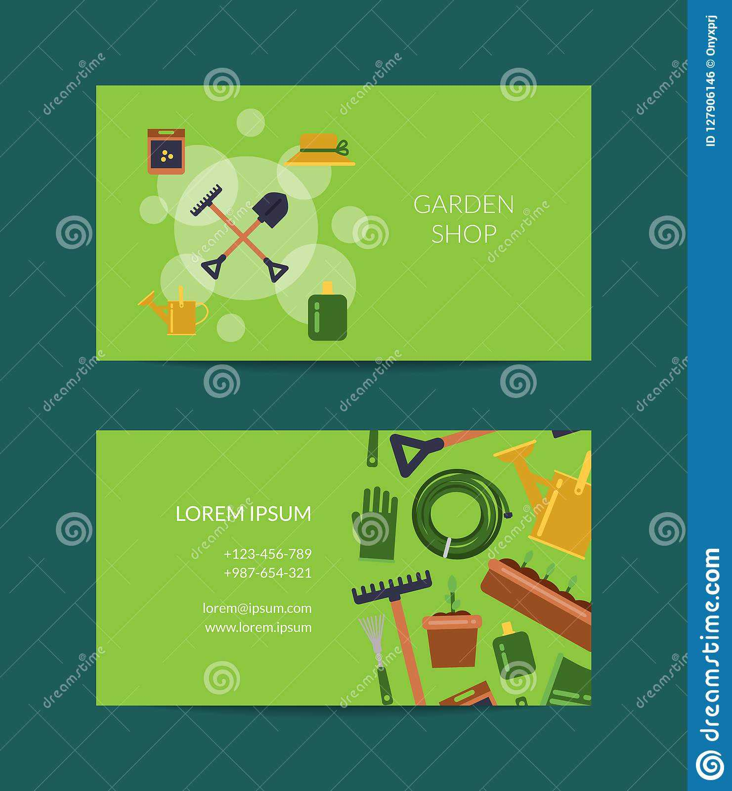 Vector Flat Gardening Icons Business Card Stock Vector For Gardening Business Cards Templates