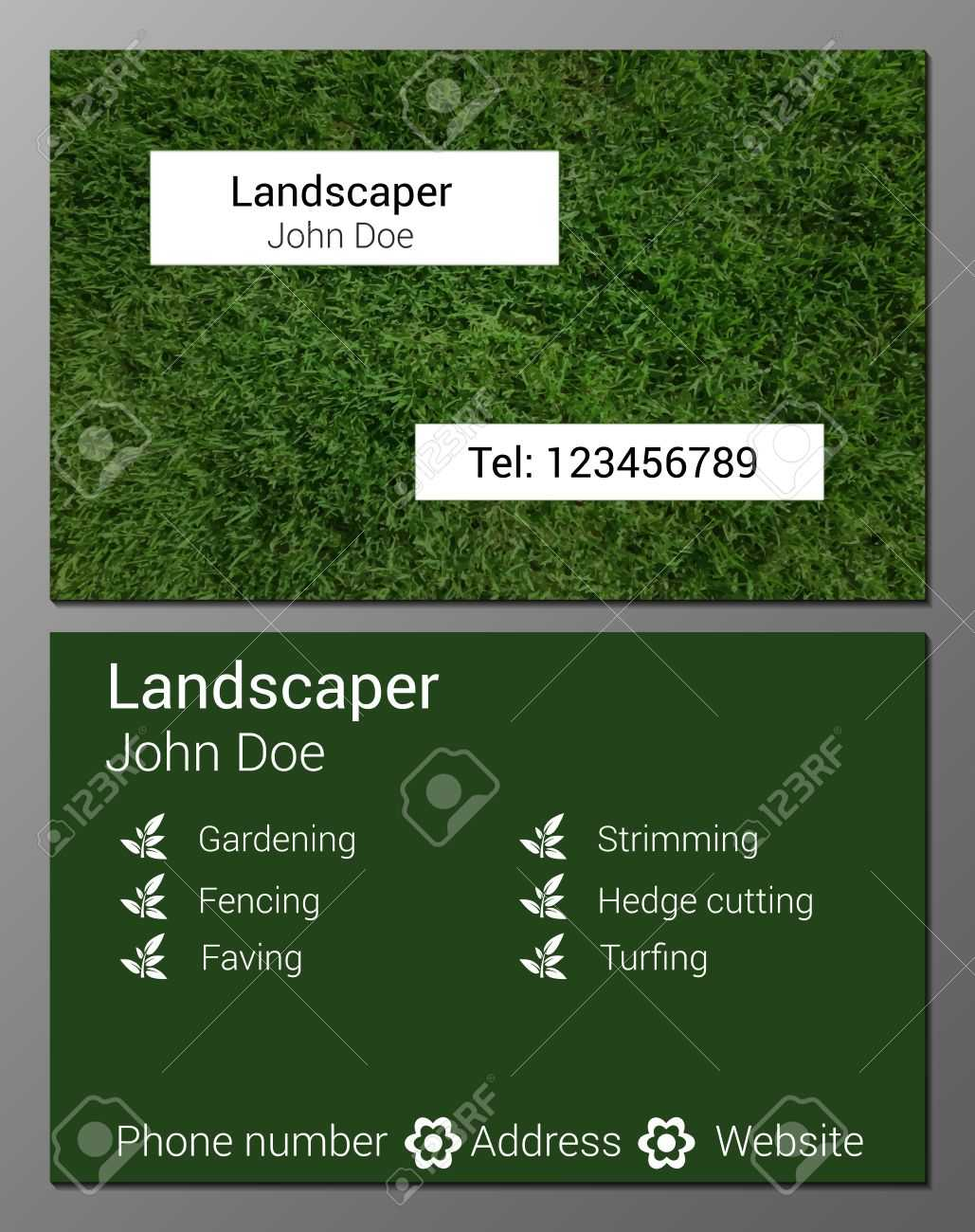 Vector Illustration Of Gardener Business Card Design Template.. With Gardening Business Cards Templates