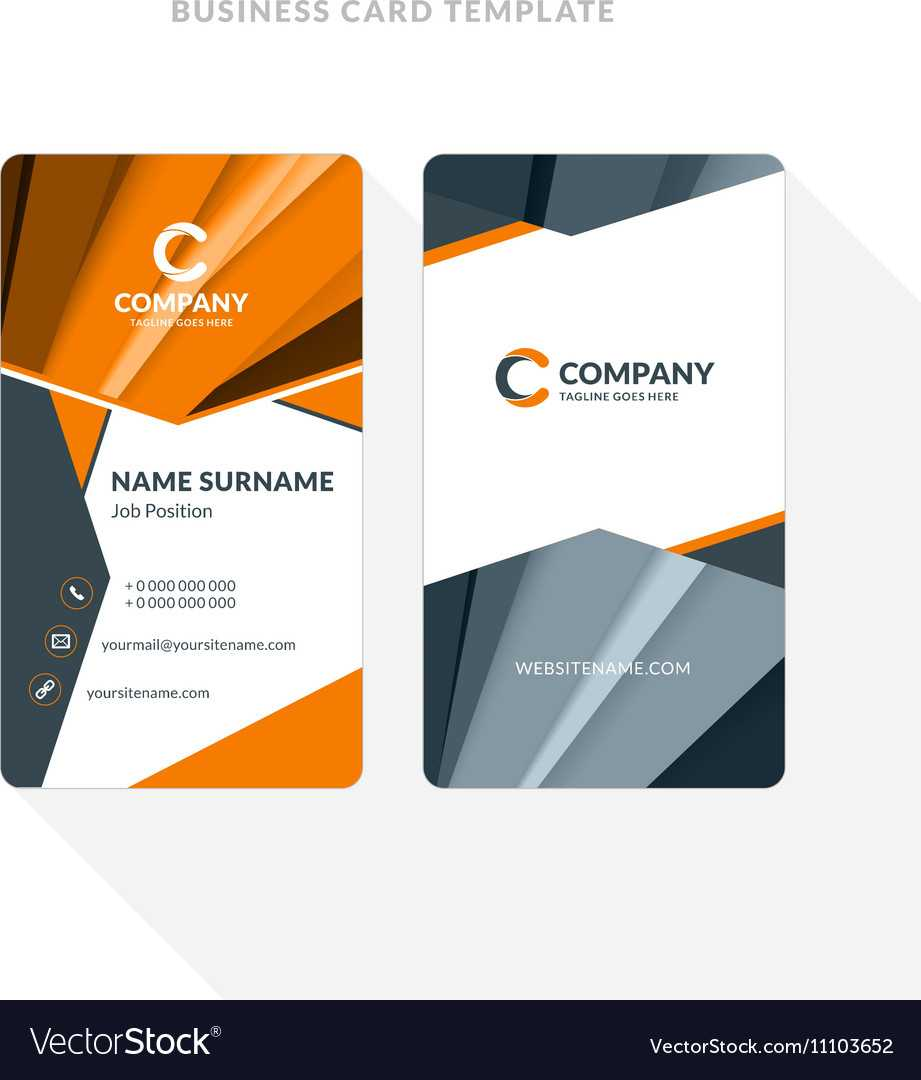 Vertical Double Sided Business Card Template With Intended For Double Sided Business Card Template Illustrator