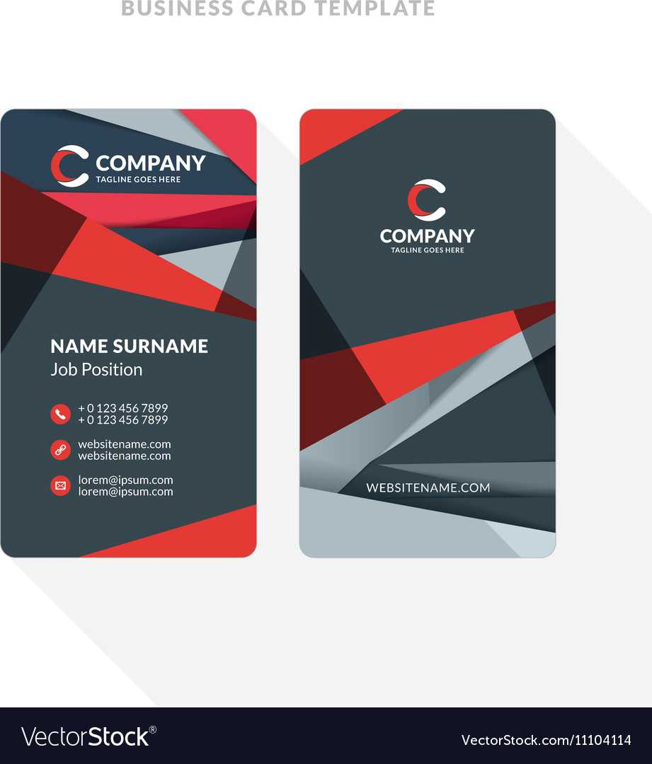 Vertical Double Sided Business Card Template With Regarding Double Sided Business Card Template Illustrator