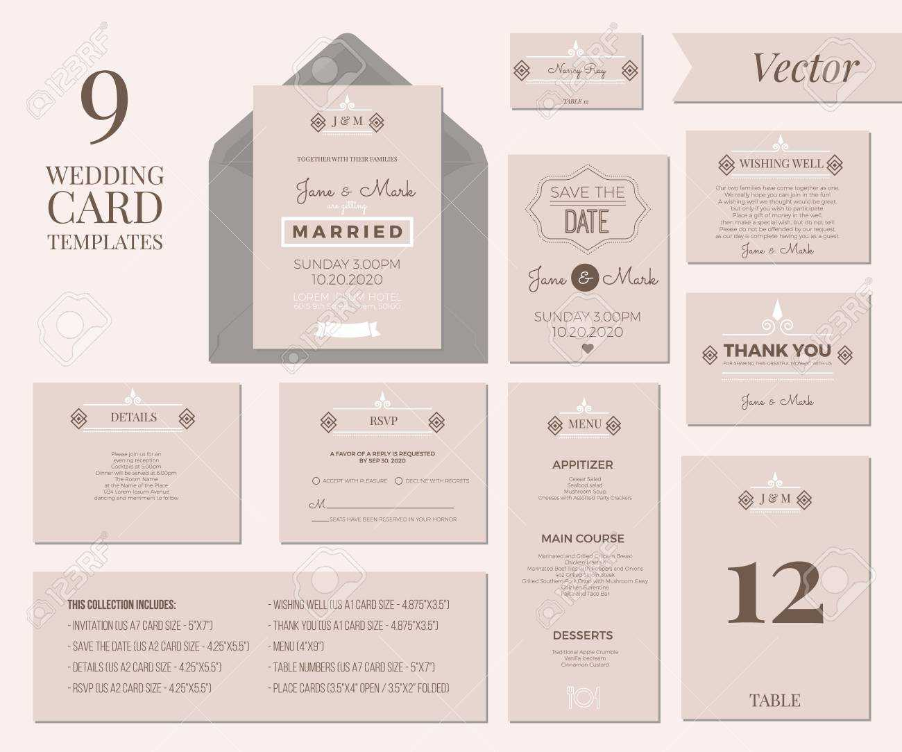 Vintage Minimal Wedding Invitation Card Collection Set Template.. Within Wedding Card Size Template