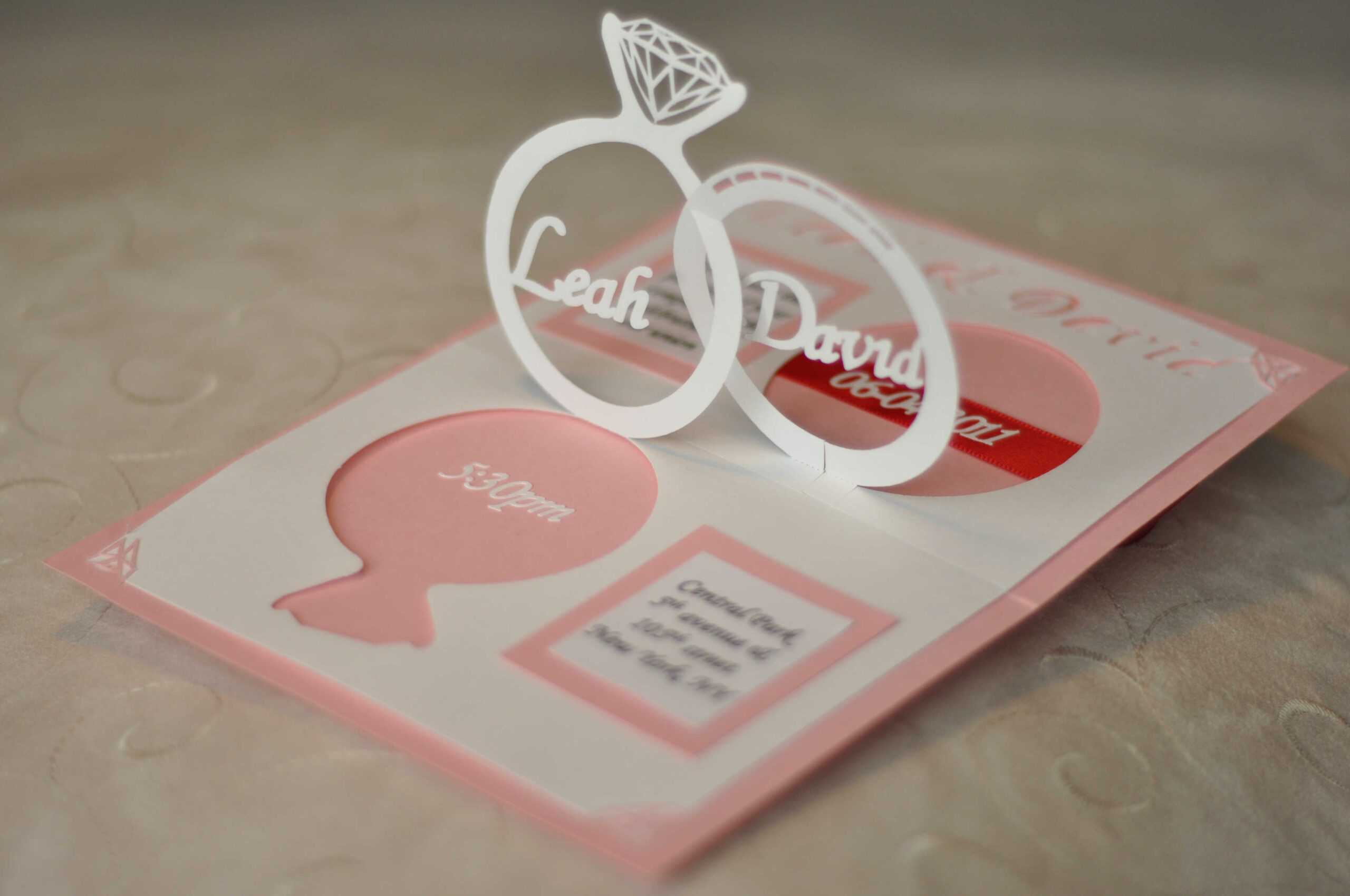 Wedding Invitation Linked Rings Pop Up Card Template With Regard To Wedding Pop Up Card Template Free