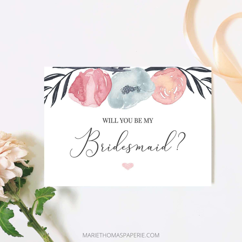 Will You Be My Bridesmaid Card Bridesmaid Proposal Card Pink Navy Floral  Bridesmaid Card Maid Of Honor Proposal Printable 106 05Bp With Regard To Will You Be My Bridesmaid Card Template